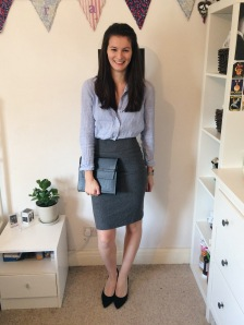 Look 3: Stella McCartney grey skirt and M&S black heels, both from eBay, and Matt & Nat clutch