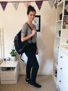 Look 2: Stripe top, Nike trainers, Sandqvist bag