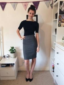 Look 1: M&S boat neck top, M&S black heels from eBay