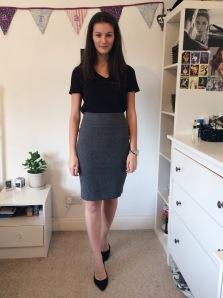 Look 2: Reformation black v-neck, M&S black heels from eBay